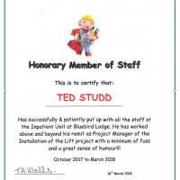 Honorary Member of Staff Certificate!